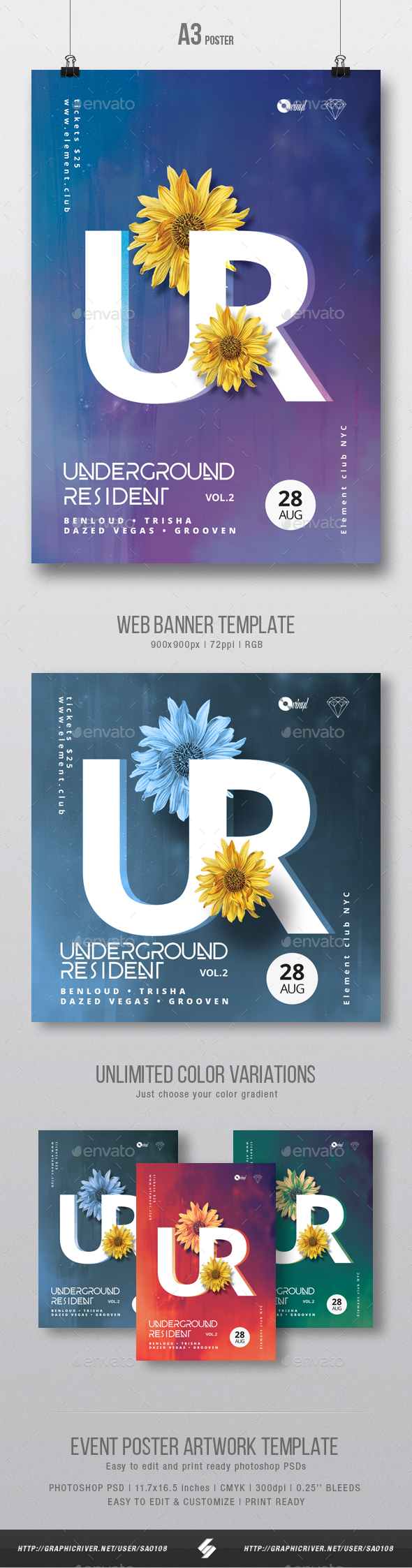 Underground Resident 2 - Progressive Party Flyer / Poster Artwork Template A3 - Clubs & Parties Events