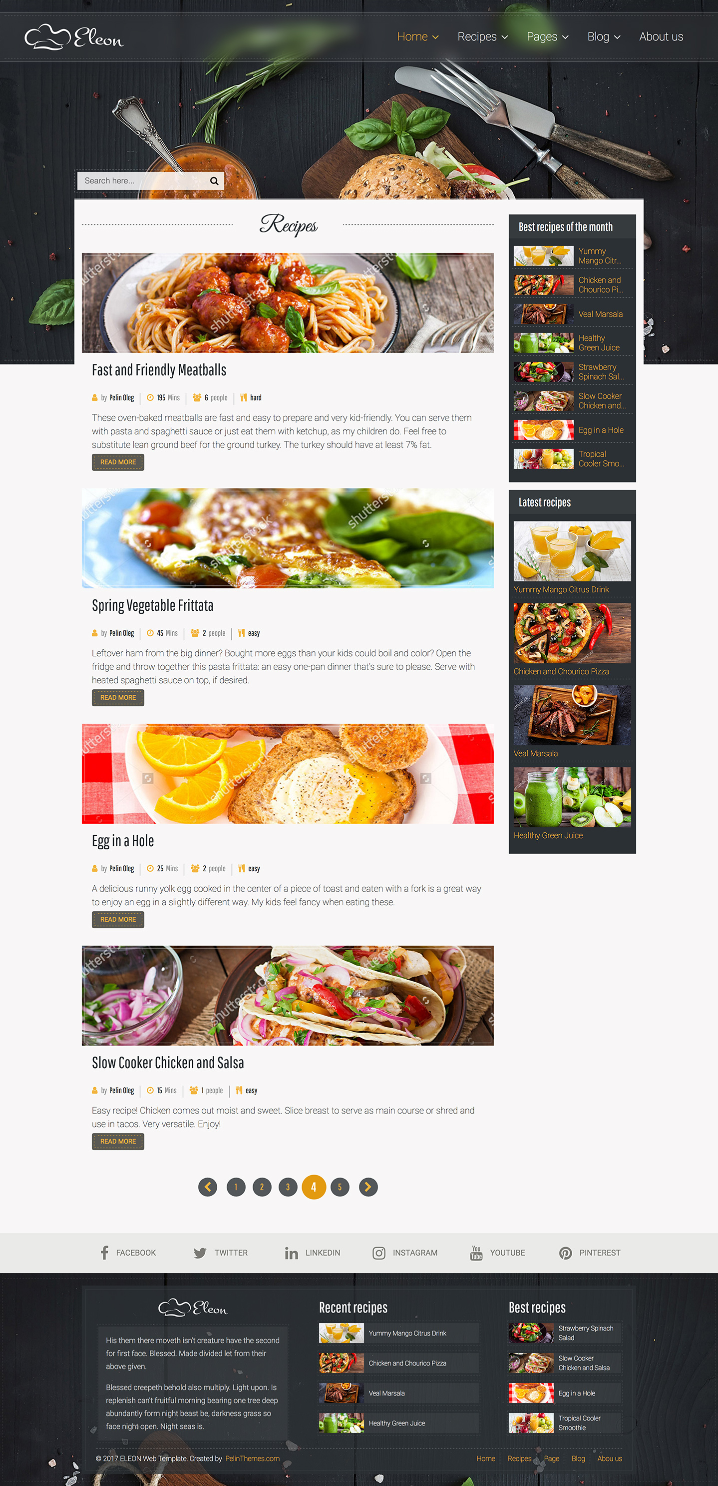 Eleon food recipes html template by devbirds themeforest eleon food recipes html template forumfinder Images