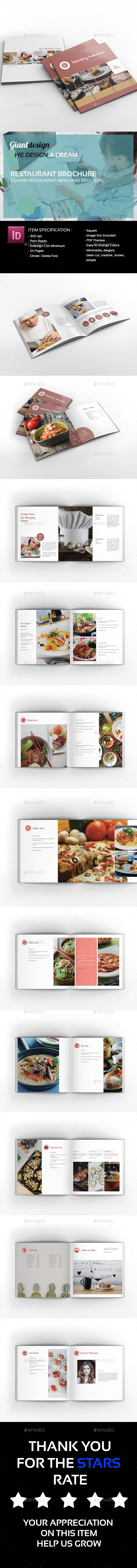 GraphicRiver Restaurant Square Brochure 20433192