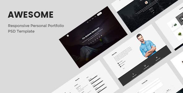 awesome responsive personal portfolio psd template by. Black Bedroom Furniture Sets. Home Design Ideas