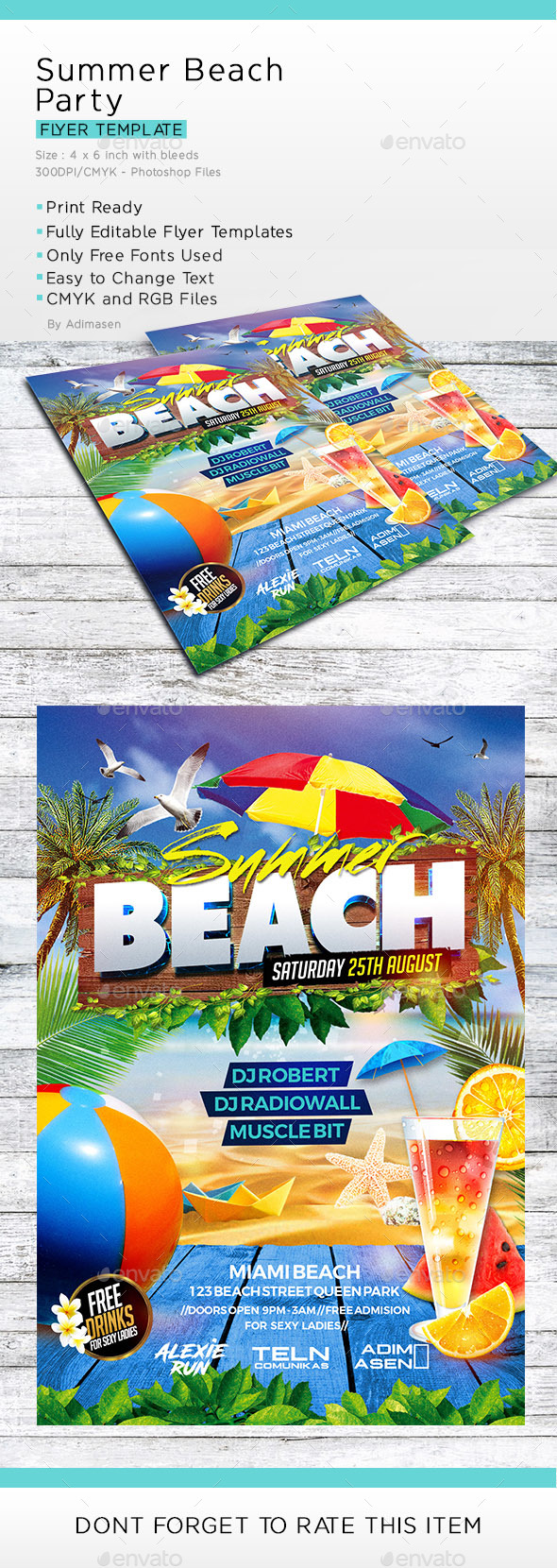 GraphicRiver Summer Beach Party Flyer Template 20426461