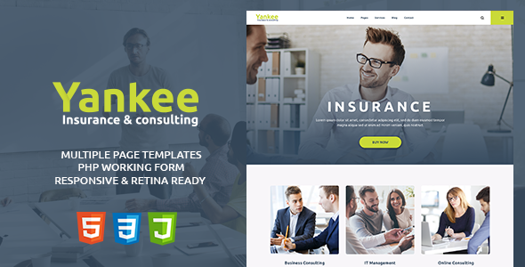 Yankee - Insurance & Consulting HTML Template