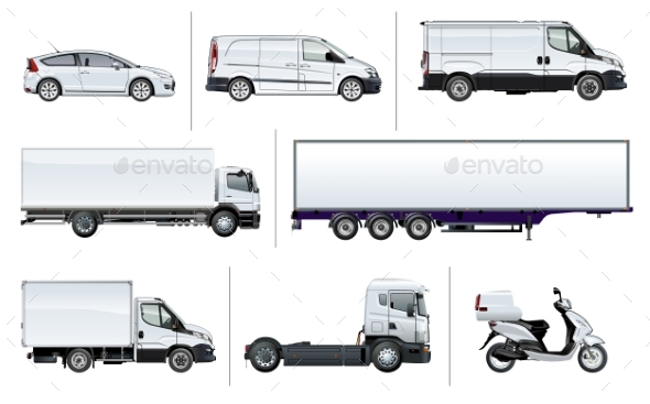 Vector Realistic Delivery Transport Mock-up - Man-made Objects Objects