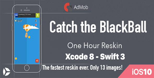 Catch The Black Ball - One Hour Reskin - iOS 10 and Swift 3 ready