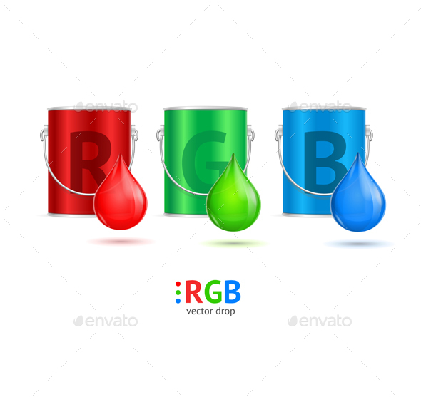 RGB Concept with Colored Metal Bucket and Drop Set - Miscellaneous Vectors