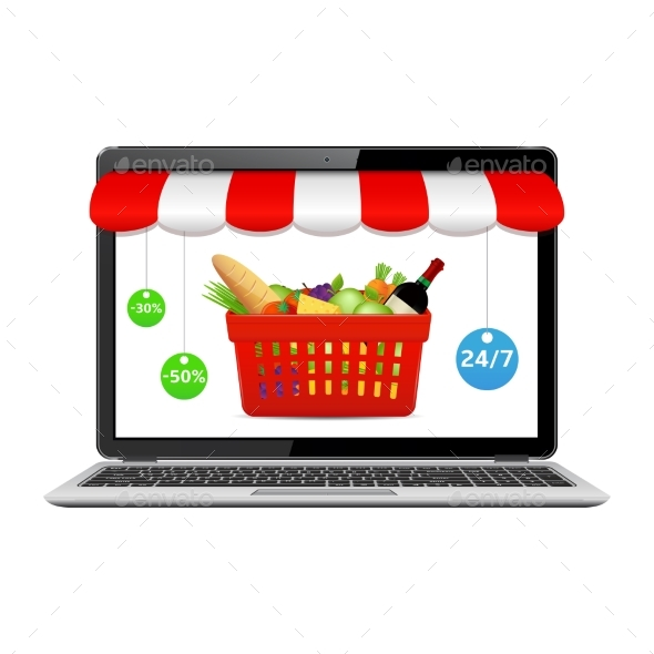 Online Store Concept on Laptop Screen - Retail Commercial / Shopping