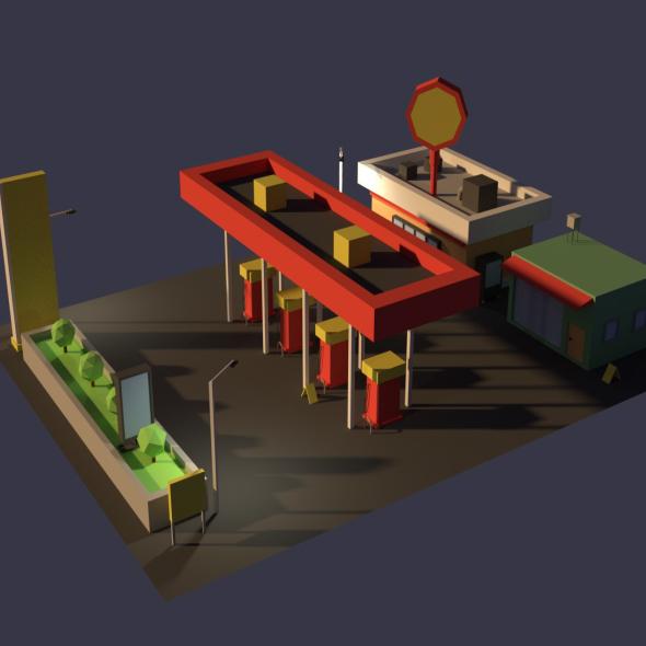 3DOcean Low Poly Cartoony Gas Station 20433873