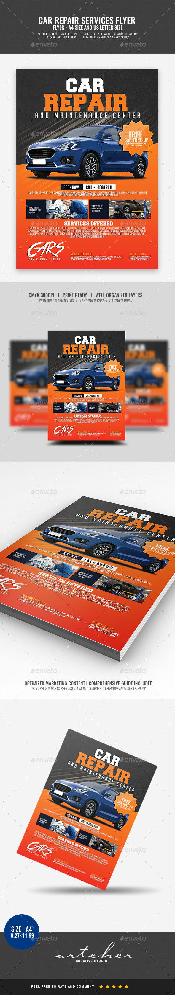 Car Repair Services Flyer - Corporate Flyers