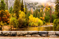 Yosemite National Park Valley and Merced River at autumn