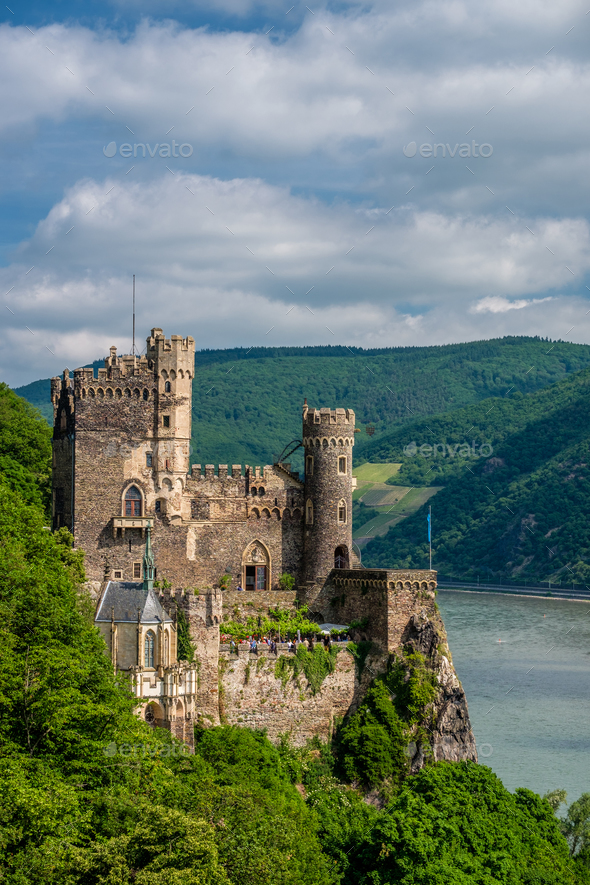 Rheinstein Castle at Rhine Valley (Rhine Gorge) in Germany - Stock Photo - Images