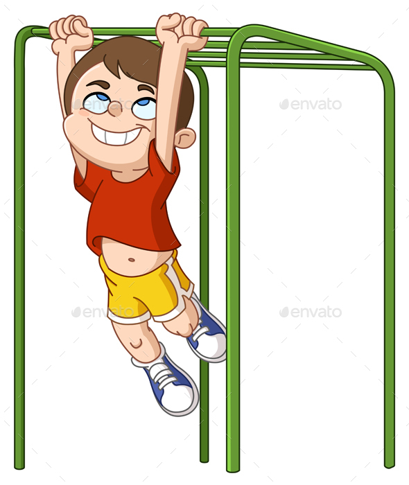 Boy Climbs Monkey Bars - People Characters