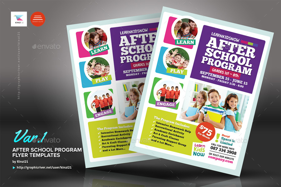 After School Program Flyer Templates By Kinzi GraphicRiver - School brochure templates