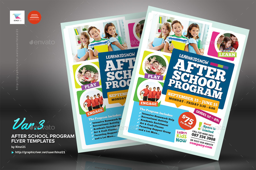 after school program flyer templates by kinzi21 graphicriver