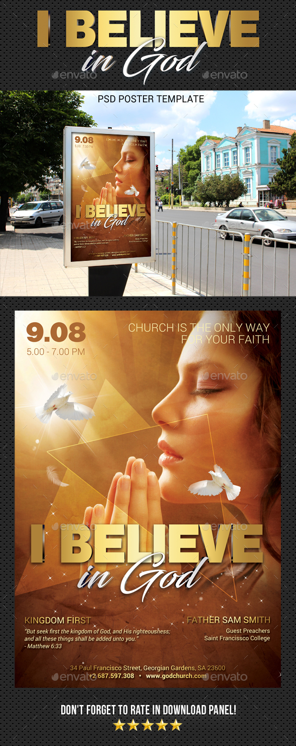 Believe In God Poster - Signage Print Templates