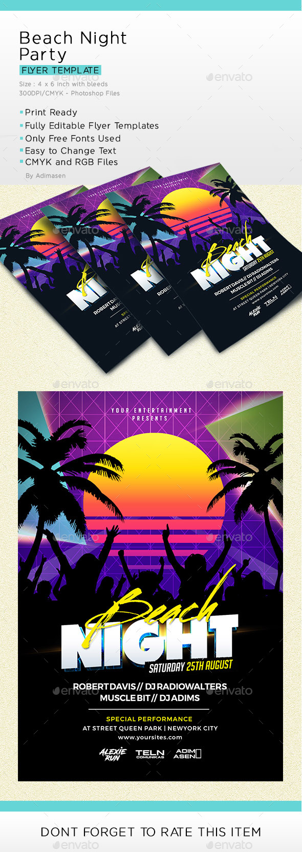 Beach Night Party - Events Flyers