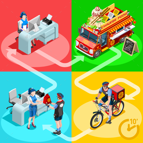 Food Truck Chinese Restaurant Home Delivery Vector Isometric - Industries Business