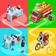 Food Truck Chinese Restaurant Home Delivery Vector Isometric - GraphicRiver Item for Sale