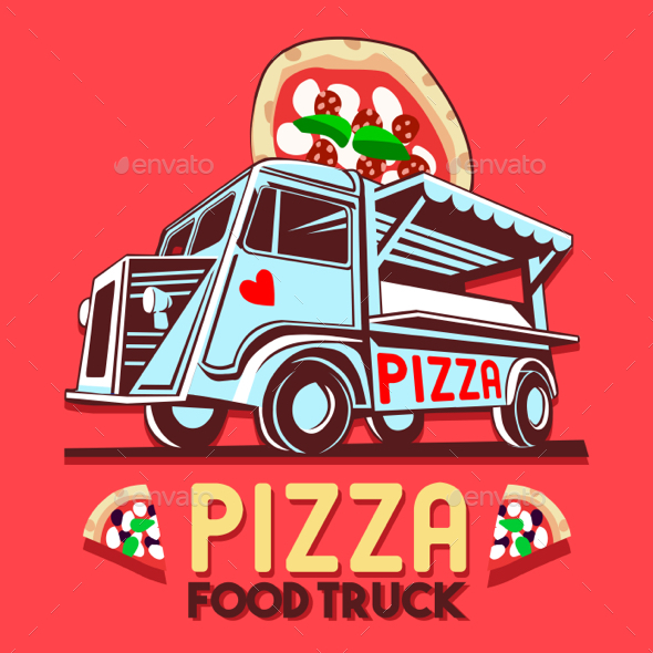 Food Truck Pizza Fast Delivery Service Vector Logo - Food Objects