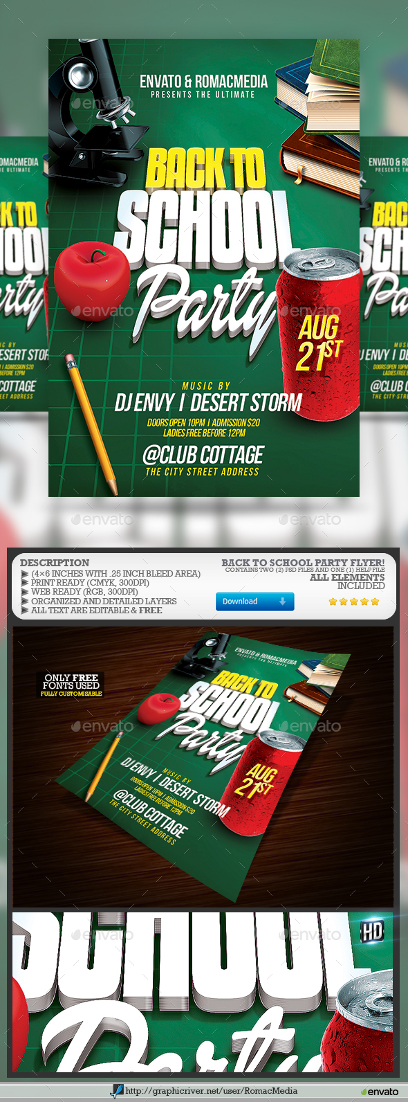 GraphicRiver Back to School Party Flyer 20434672
