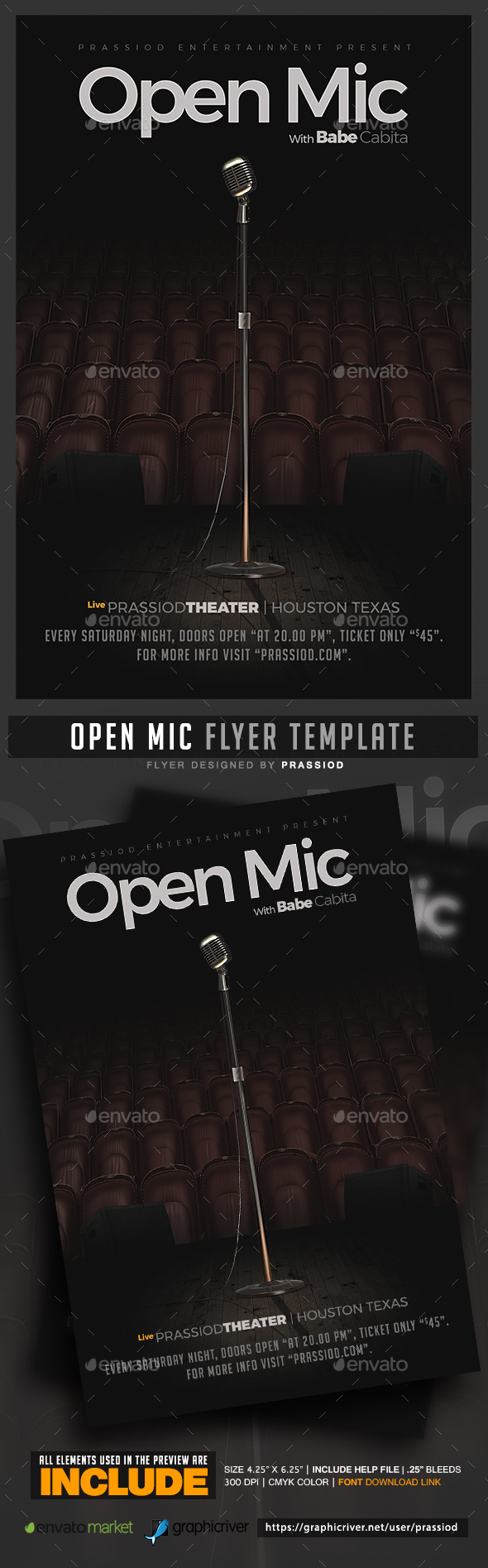Open Mic Flyer Template - Clubs & Parties Events