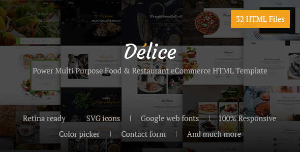 Delice - Power Multi Purpose Food & Restaurant eCommerce HTML Template