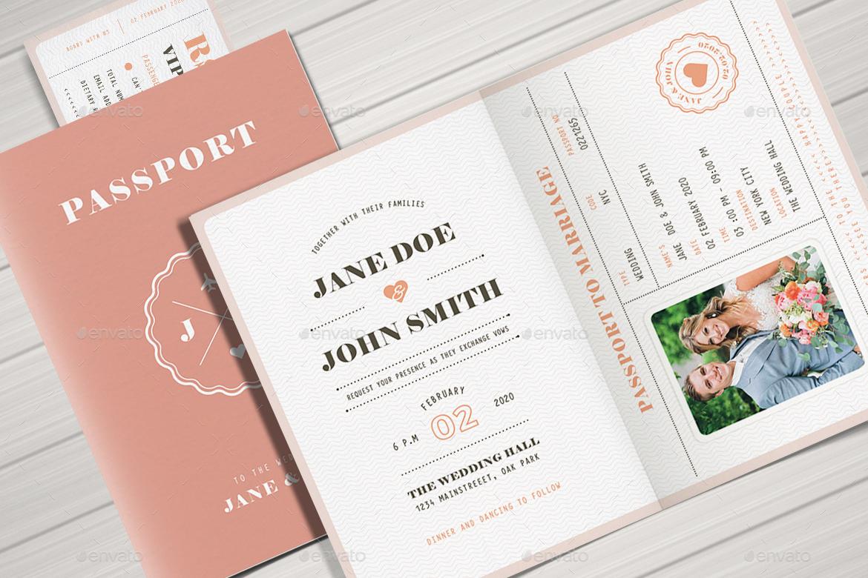 Passport Wedding Invitation by vynetta | GraphicRiver