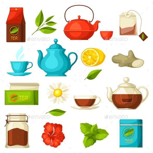 GraphicRiver Set of Tea and Accessories Packs and Kettles 20435529