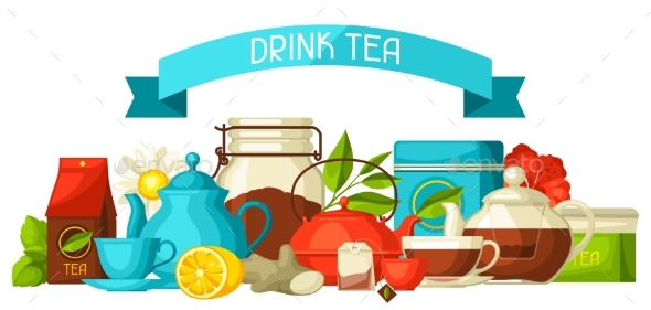 Background with Tea and Accessories - Food Objects