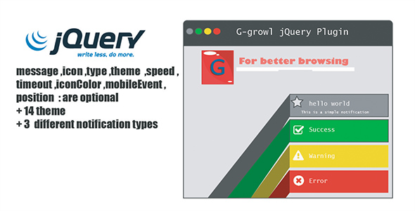 CodeCanyon gGrowl Notification Messages with Icons Plugin 20436595