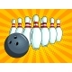 Skittles and Bowling Ball Pop Art Style Vector