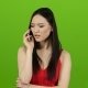 Asian Girl Talking on the Phone, Swearing, Angry. Green Screen - VideoHive Item for Sale