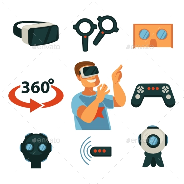 GraphicRiver Virtual Reality or VR Gaming Devices Gadgets 20436909