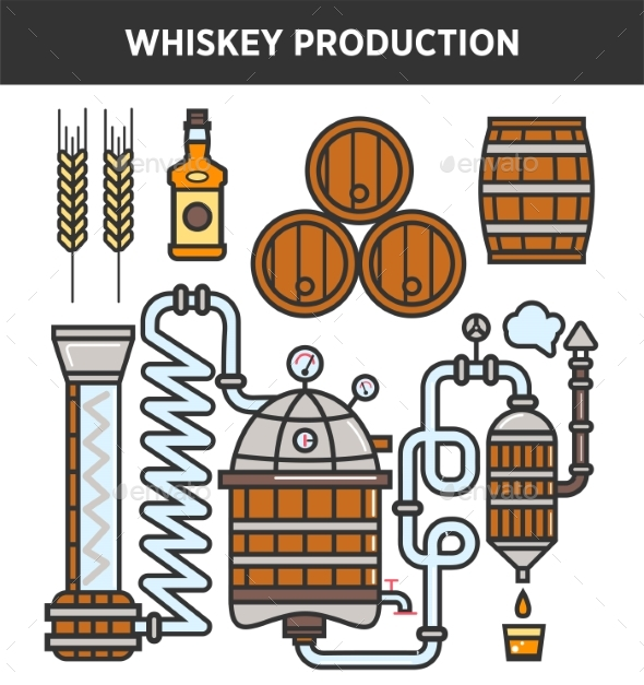 Whiskey Production Technology or Whisky Brewery - Food Objects