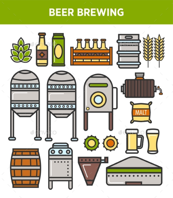 Beer Brewery Factory Production Technology Vector - Food Objects