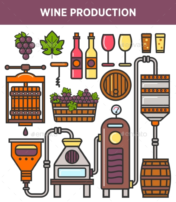 Wine Production Factory or Winery Winemaking - Food Objects