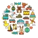 Kid Toys or Children Playthings Vector Icons