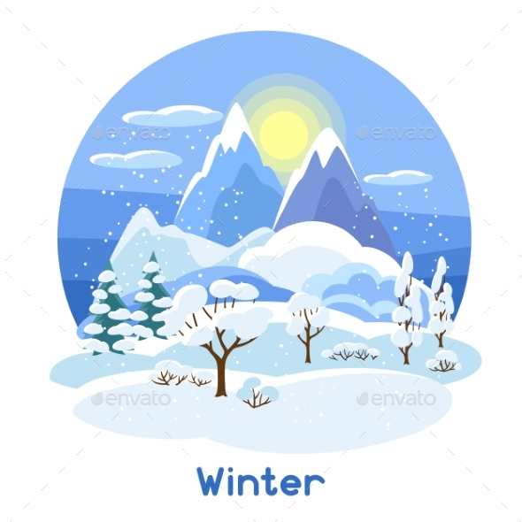 GraphicRiver Winter Landscape with Trees Mountains and Hills 20437012