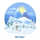 Winter Landscape with Trees, Mountains and Hills - GraphicRiver Item for Sale