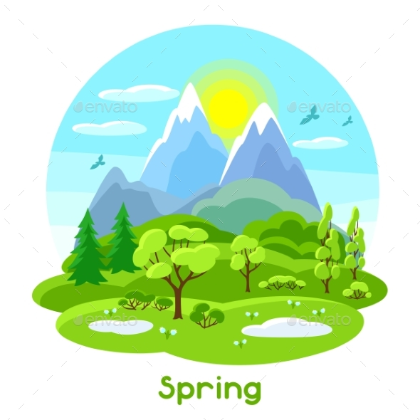 Spring Landscape with Trees, Mountains and Hills - Seasons Nature