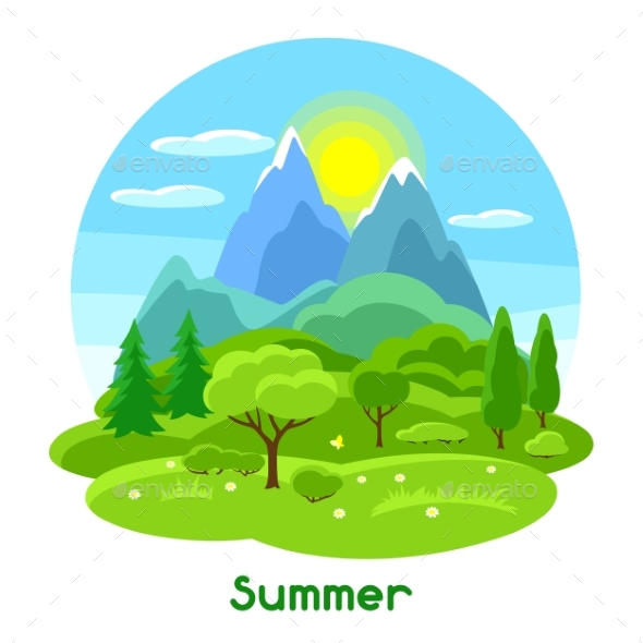 Summer Landscape with Trees, Mountains and Hills - Seasons Nature