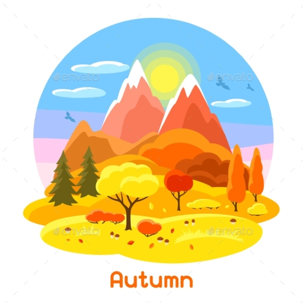 Autumn Landscape with Trees, Mountains and Hills - Seasons Nature