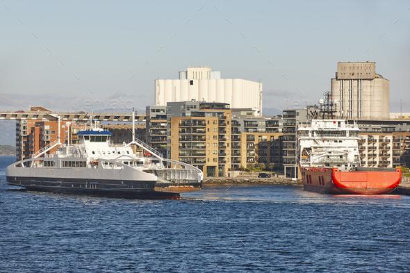 Norwegian ferries in Stavanger city harbor. Norway. Transportation background - Stock Photo - Images