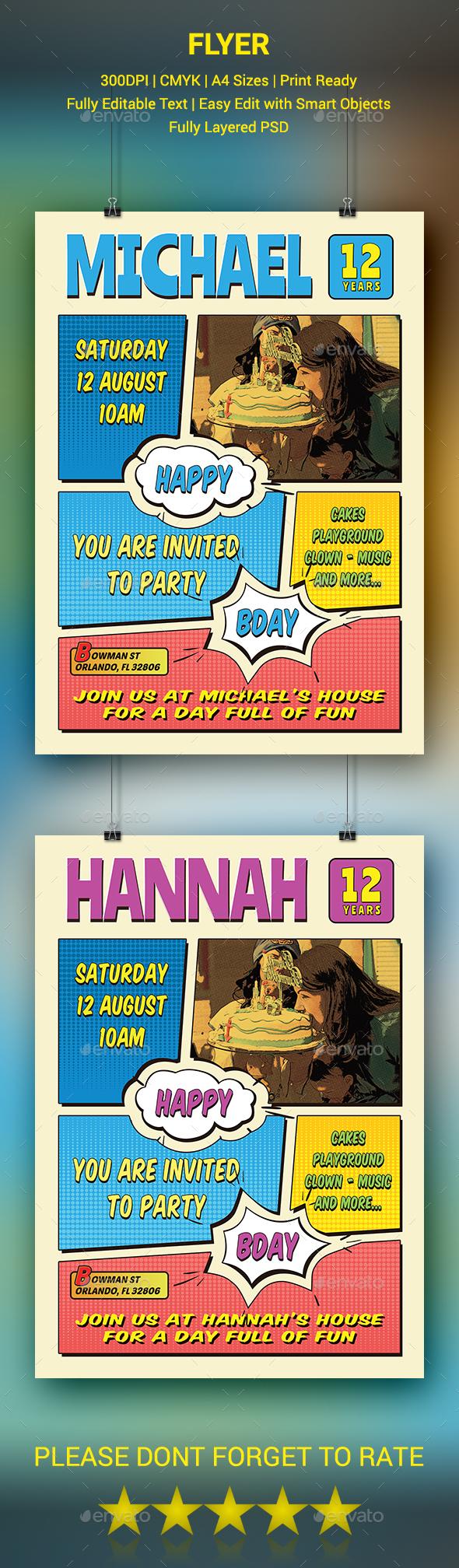 GraphicRiver Comic Style Birthday Flyer 20437424