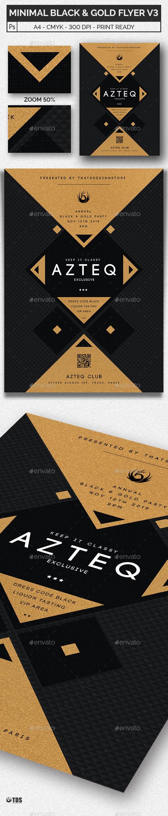 GraphicRiver Minimal Black and Gold Flyer Template V3 20437596