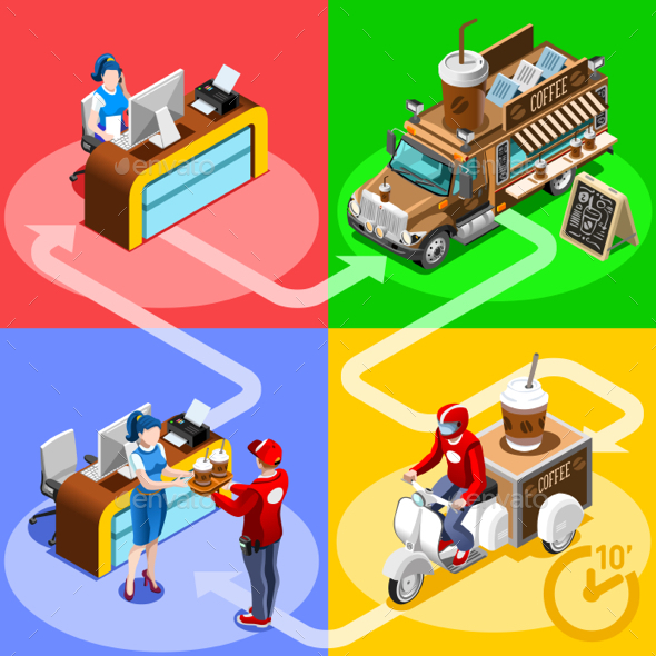 Food Truck Coffee Cafe Home Delivery Vector Isometric People - Vectors