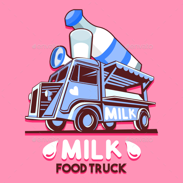 GraphicRiver Food Truck Dairy Milk Bar Fast Delivery Service Vector Logo 20437740