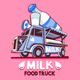 Food Truck Dairy Milk Bar Fast Delivery Service Vector Logo