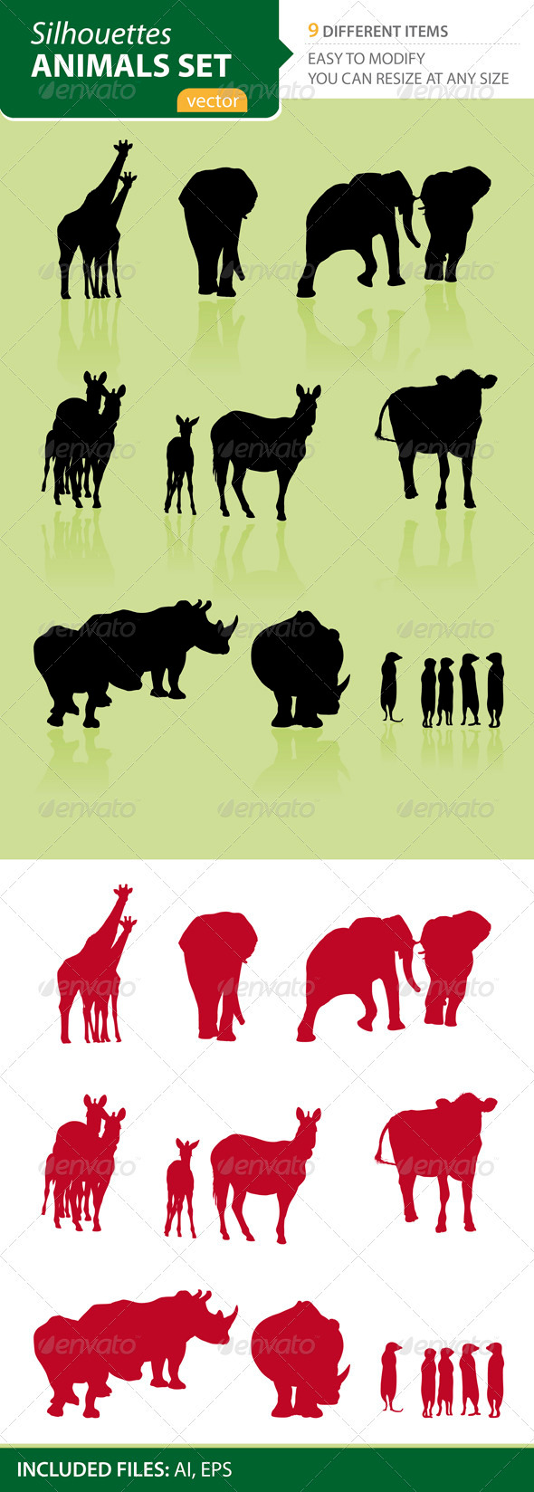 Animals Silhouettes Set - Animals Characters