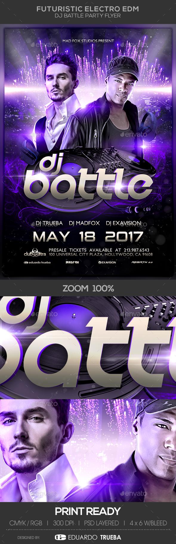 Futuristic Electro EDM Dj Battle Party Flyer - Clubs & Parties Events
