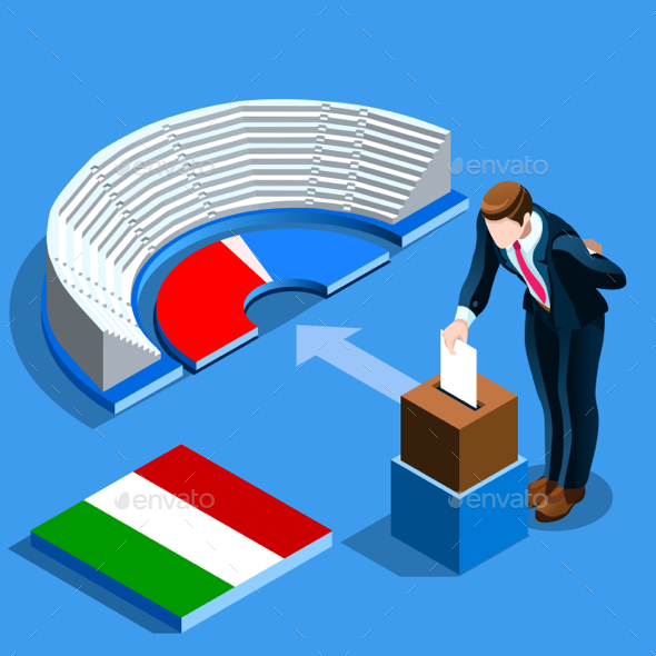 GraphicRiver Italy Election Italian People Vote at Isometric Ballot Box 20437778